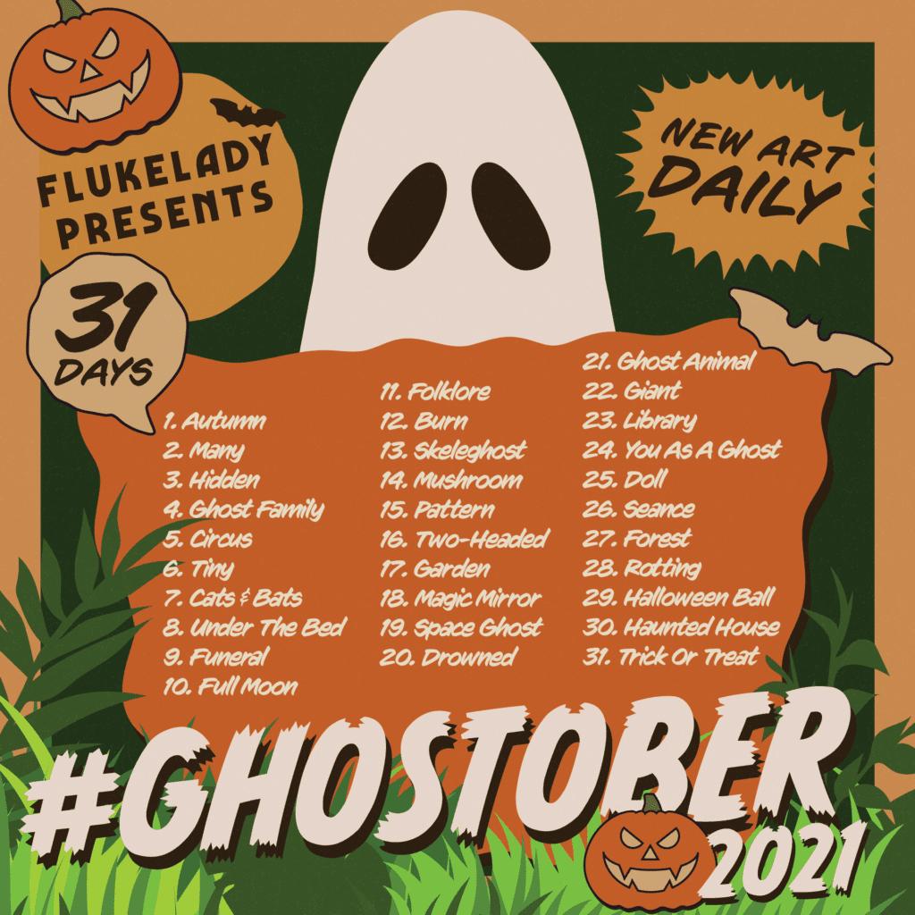 #GHOSTOBER2021 Halloween Art Challenge List - 31 art prompts for every day of October 2021