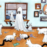 'Many', a watercolor painting of a ghost surrounded by many cats.