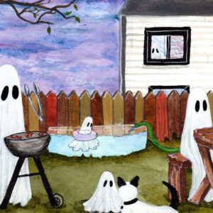 'Ghost Family', a watercolor painting of a family of ghosts enjoying a summer day in their yard.