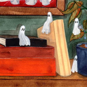 'Tiny' is a watercolor painting that features tiny ghosts on a bookshelf.