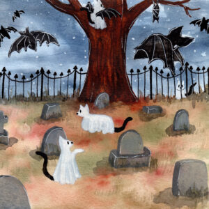 'Cats and Bats' is a watercolor painting featuring ghost cats and bats at a cemetary.
