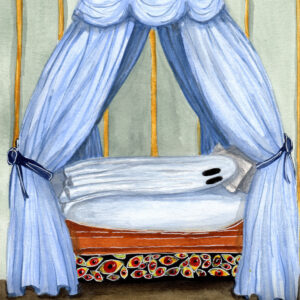 A watercolor painting of a ghost trying to sleep with unknown horrors below its bed