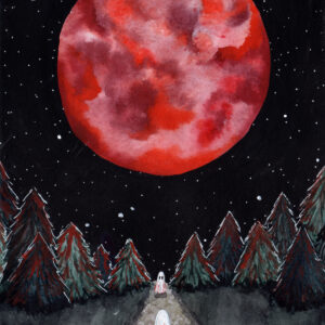 'Full Moon' is a watercolor painting by Flukelady that depicts two ghosts meeting beneath a full moon.