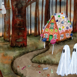 'Folklore', a watercolor painting by Flukelady featuring two young ghosts approaching a gingerbread house in a forest.