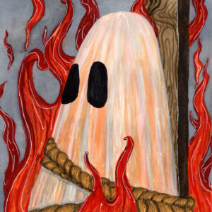 'Burn', a watercolor painting by Flukelady that depicts a sheet ghost burning at a stake.