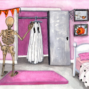 'Skeleghost' is a watercolor painting by Flukelady. A ghost has removed its sheet to reveal a skeleton.