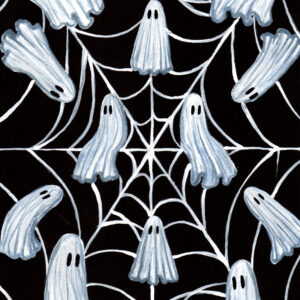'Pattern' is a watercolor painting of a spiderweb and several ghosts placed uniformly along the web.