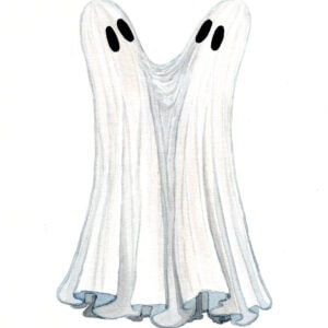 'Two Headed' is a watercolor painting by Flukelady that features a sheet ghost with two heads.