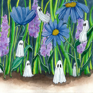 'Garden' is a watercolor painting by Flukelady. It features several tiny ghosts hiding in a garden bed.