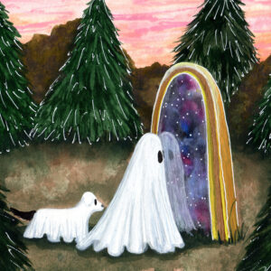 In this watercolor painting, a ghost peers into a mirror that does not quite reflect it's surroundings.