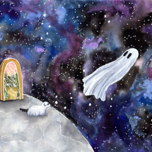 'Space Ghost' is a watercolor painting by Flukelady that features a ghost and their dog floating through space.