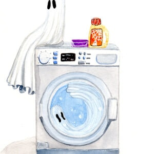 'Drowned' is a watercolor painting by Flukelady, it shows a ghost sitting on a washing machine with another trapped inside.
