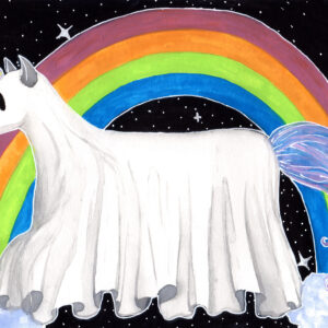 'Ghost Animal' is a watercolor painting by Flukelady featuring a ghost unicorn in front of a celestial rainbow.