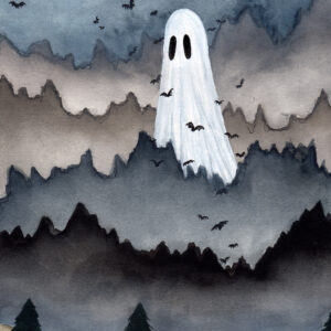 'Giant' is a watercolor painting by Flukelady. It depicts a giant ghost looming over a mountainous forest landscape..