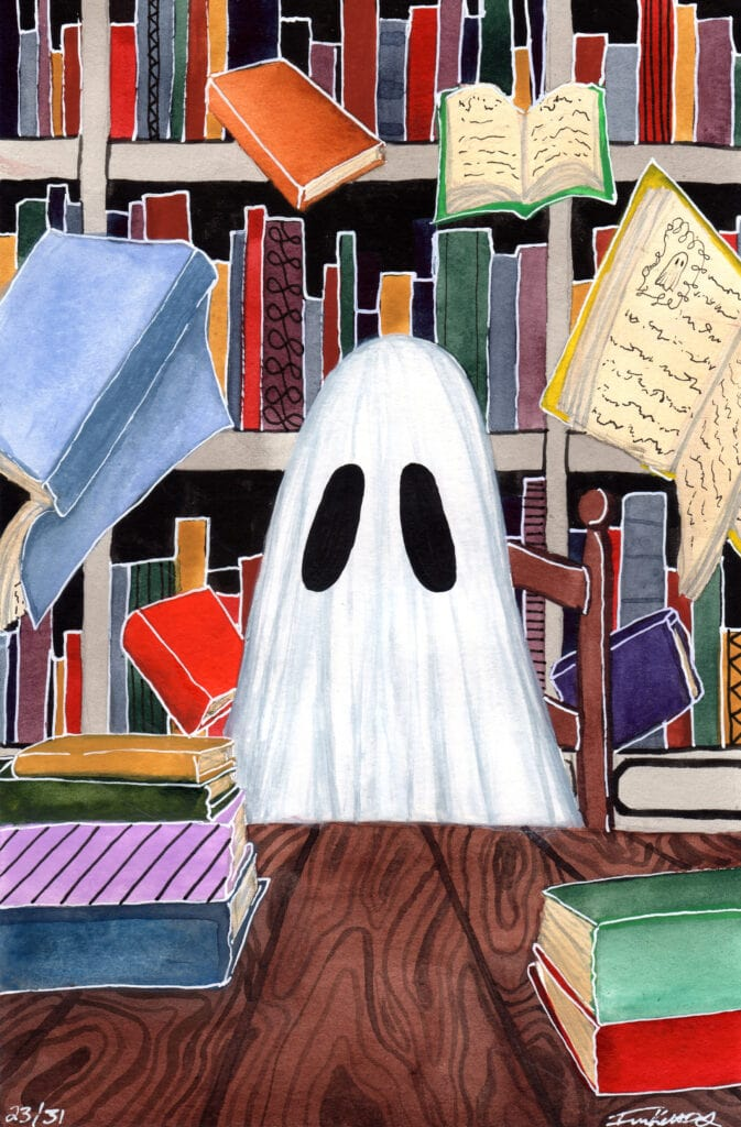 'Library' is a watercolor painting by Flukelady, it depicts a ghost in a library surrounded by floating books.