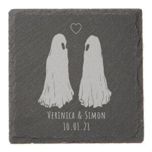 An example engraved tile with Flukelady's Ghost Love piece and custom anniversary text