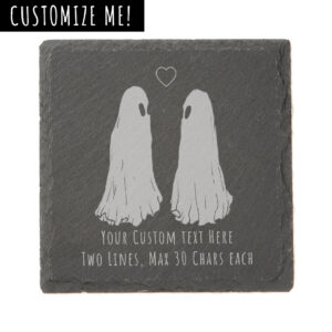A slate tile etched with Flukelady's Ghost Love piece, along with custom text of your choice.